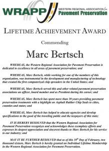 Mark Bertsch - Lifetime Achievment Award Western Regional Association for Pavement Preservation